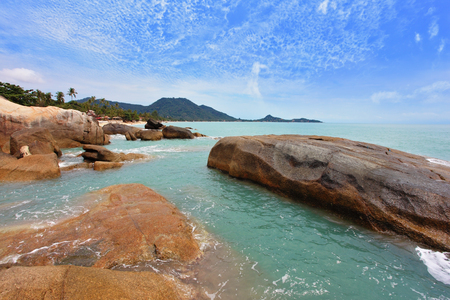 Similan Islands. Thailand, in April, a wonderful beach and spectacular cliffs. Azure warm water and white sand