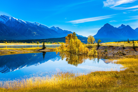 The concept of ecological and active tourism. The water of fantastic Abraham lake reflects mountains and trees. Sunny autumn day in the Rocky Mountains of Canada Banco de Imagens - 105518875