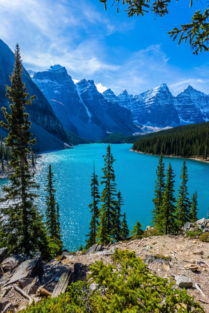 Lake Moiraine in the Valley of the Ten Peaks. Canadian Rockies, Province of Alberta, Park Banff. The concept of ecological, photographic and active tourism