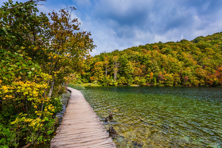 Wooden flooring for tourists. Lush colors of the autumn forest. Plitvice Lakes on a sunny warm day. The concept of ecological and active tourism