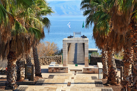 Palm alley goes out to the Sea of Galilee, Israel