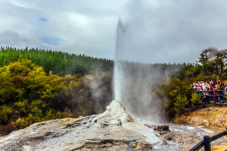 VALLEY OF GEYSERS ROTOROU, NEW ZEALAND - MARCH 24, 2018. The famous Lady Knox geyser