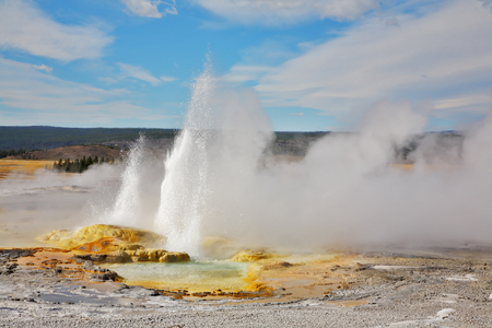 Autumn to Yellowstone national park. The well-known geysers and hot sources