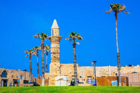 The minaret and walls of Arab period of Caesarea.