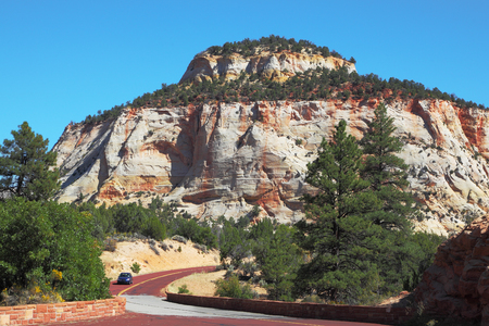 The picturesque hills of striped sandstone and low pine Zion National Park in the U.S