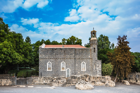 The Holy Church of the Primacy - Tabgha on the Sea Gennesaret. Jesus then fed with bread and fish hungry people. Sea of Galilee in Israel