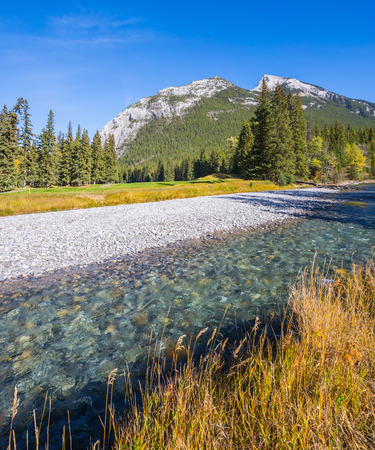 Dry creek in a mountain valley Banff park. Sunny autumn day in the Canadian Rockies Banco de Imagens