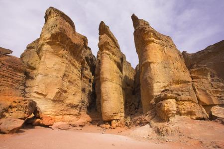 Columns of tsar Solomon - huge rocks of the freakish form in Park Timna in Israel