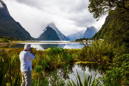 The gray-haired tourist photographs a  landscape. Swampy, overgrown marsh grass coast of the fjord Milford Sound. New Zealand. Concept of photographic, exotic and active tourism Stock Photo