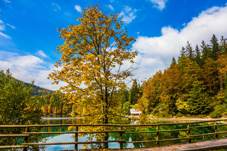 The road around the lake Lago de Fusine is fenced with wooden handrails. Northern Italy. The smooth surface of the green water. Concept of ecological and cultural tourism Banque d'images