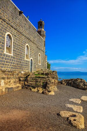 The Church of the Primacy - Tabgha. The Holy Church was built on the Sea Gennesaret.  Benedictine monastery. Jesus then fed with bread and fish hungry people