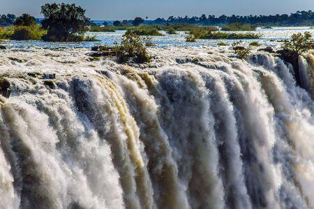 Grand Victoria Falls on the Zambezi River in South Africa. Fantastic walk in the high season.