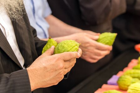 The annual holiday bazaar for the holiday Sukkot. Religious Jew with sidelocks chooses best ritual etrog. Jerusalem, Israel. The concept of religious, ethnographic and photo tourism