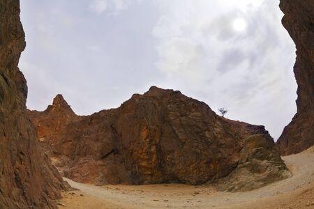 Cañón negro espectacular y eficaz en las montañas de Eilat Foto de archivo