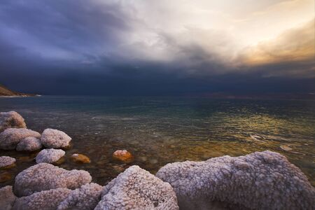 Improbable light effects during a thunder-storm on the Dead Sea Imagens