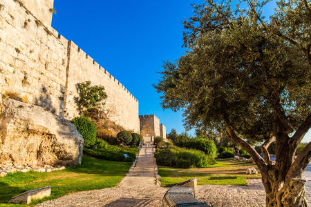 The fortress wall of old Jerusalem. Stone-paved footpath through green grass lawn. Hot summer sunset. The concept of historical, pilgrim and photo tourism