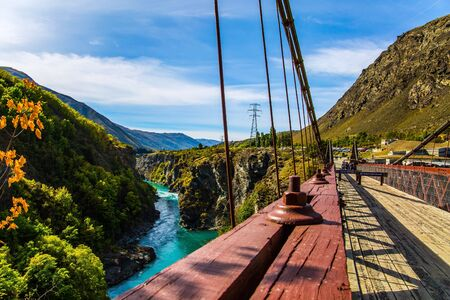 New Zealand. River and bridge Kawarau between Queenstown and the town of Cromwell. The concept of extreme, active and photo tourism