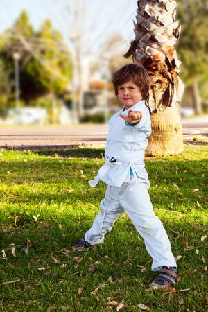 Charming boy in a white kimono in a park practices judo. Palm trees and green grass in park. Concept - photo advertising, children, sports Zdjęcie Seryjne