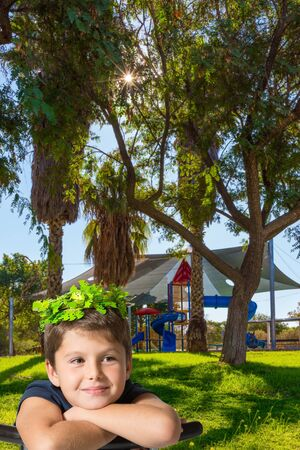 Beautiful boy in a shiny wreath of leaves smiling. Children s playground with a multicolored attractions. The concept of physical and mental development of children