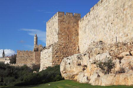 Walls of ancient Jerusalem. Serene autumn day, a sunset