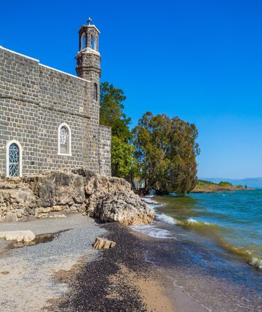 The path of Christian pilgrims. Christian places of Israel. Church on the shore of the Sea of Galilee - Tabgha.
