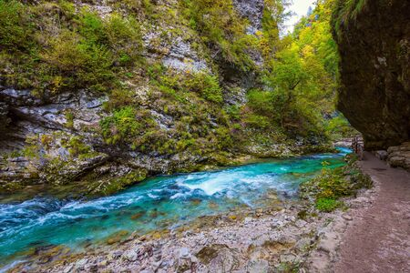 Slovenia. Vintgar gorge. Mountain river with azure water. Roaring foamy waterfalls and rapids. The concept of active and photo tourism Stok Fotoğraf