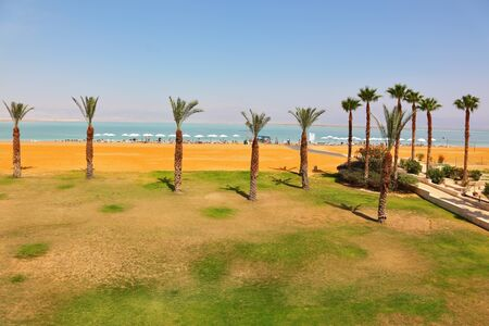 Medical beach luxury hotel at the Dead Sea in Israel. Sunny spring day