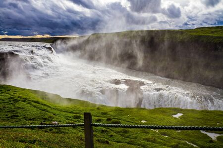 The rumbling waterfall is fed by thawed glacial water. Gullfoss