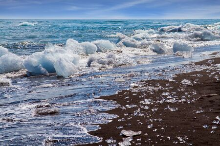 The famous icelandic black sand beach. Ocean surf brings ice floes. The lagoon Jokulsaurloun. Cold day in July. North Atlantic. The concept of extreme, northern and photo tourism