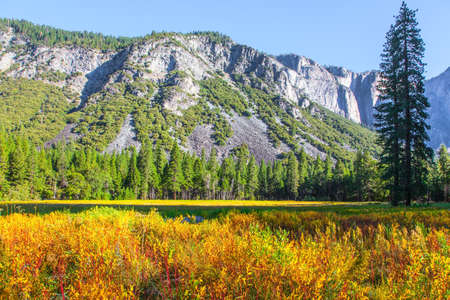 Yosemite National Park - famous, huge and picturesque park in California, USA. The Sierra Nevada - Snowy Mountains. Great trip into the wild. Majestic mountains surround the Yosemite Valley.