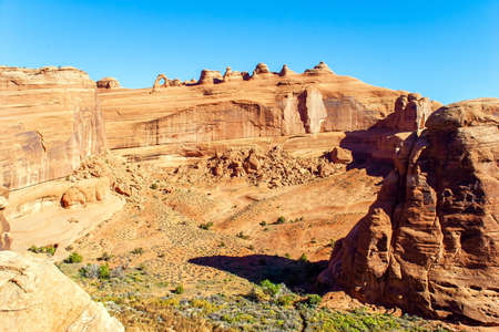 Delicate Arch. Grandiose rock compositions created by nature, natural origin, the result of erosion and weathering. The unique beauty of Arches Park. Utah, USA.