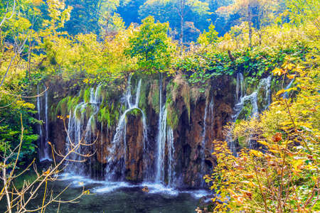 The transparent shallow lake reflects the forest. Plitvice Lakes Park in Croatia, Central Europe. Many picturesque waterfalls flow along the clay cliffs. Zdjęcie Seryjne