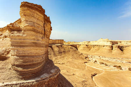 Ancient mountains and deserts around the Dead Sea. Interesting walk among picturesque hills, cliffs and gorges. Magnificent exotic resort for treatment. Israel. The Judean Desert.