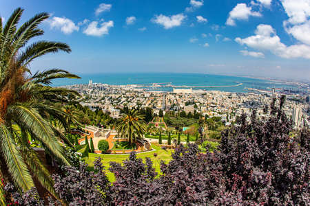 Clear sunny day by the sea. Haifa, Israel. View from Mount Carmel to the international seaport of Haifa. The descent to the Mediterranean Sea.