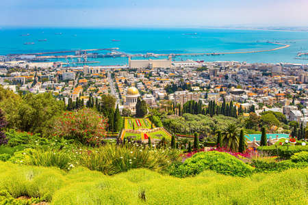 View from Mount Carmel to the international seaport of Haifa. The descent to the Mediterranean Sea. Clear sunny day by the sea. Haifa, Israel.