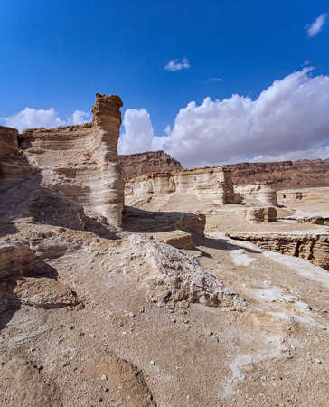 Ancient mountains and deserts around the Dead Sea. The Judean Desert. Israel. Interesting walk among picturesque hills, cliffs and gorges. Magnificent exotic resort for treatment. Фото со стока