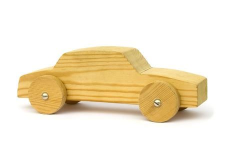 wooden toy: Old wooden homemade toy car on white background Stock Photo