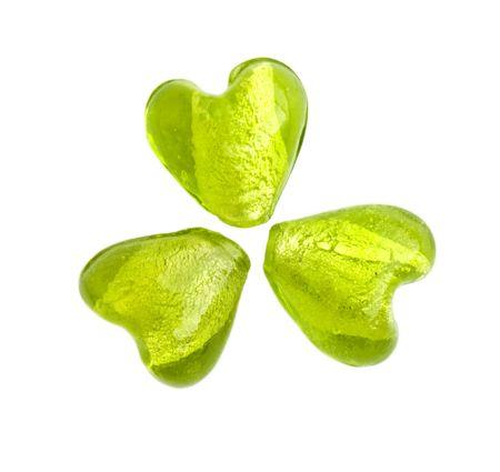 three leafed: Green heart shaped glass beads making a shamrock (three-leaf clover)