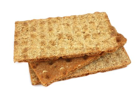 Thre pieces of crispbread isloated on white background photo