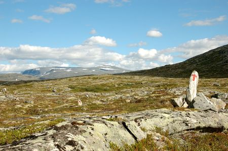 Mountain path in Norway marked by red T. Stock Photo - 7450978