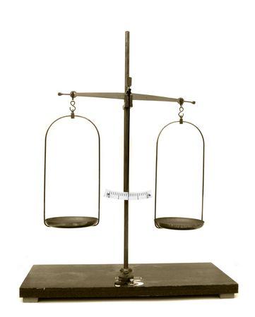 Balanced old scales, isolated on white background Stock Photo - 7450939