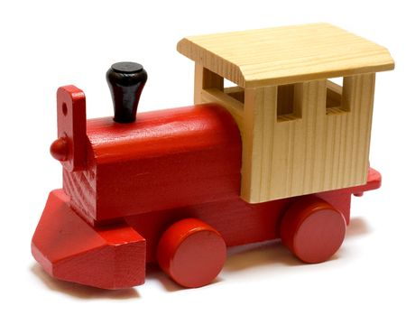 painted wood: Old vintage wooden toy train on white background
