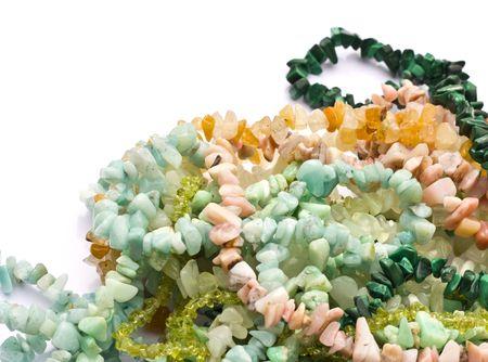 amazonite: Semiprecious chip stone bead necklaces on white background