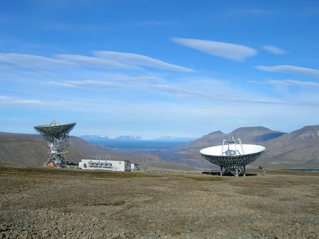 antennae: Observatory station for weather and Aurora borealis (northern lights) in Ny-Aalesund, Spitsbergen, Svalbard. Stock Photo