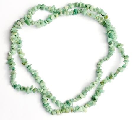 amazonite: Amazonite gemstone chip bead necklace on white background with natural shadows