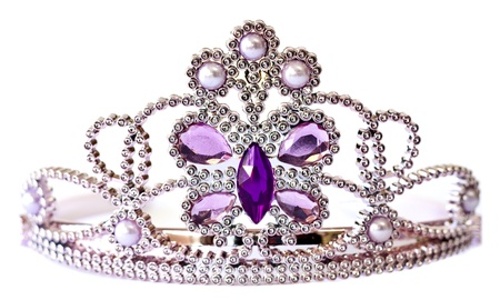 gemstone: Silver color tiara with purple and lilac stones and pearls isolated on white background