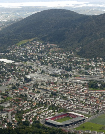 View from Ulriksbanen over Bergen city, the football stadium in front photo