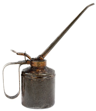 oilcan: Old vintage oil can isolated on white background
