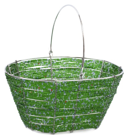 metall and glass: Basket made from wire string and glass beads Stock Photo