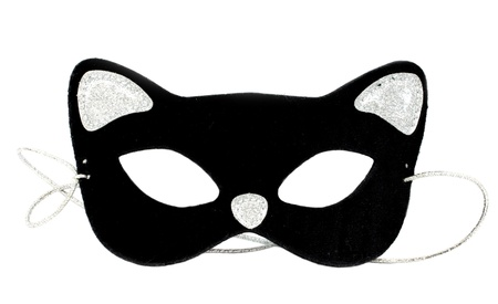 Carnival cat mask on white background photo